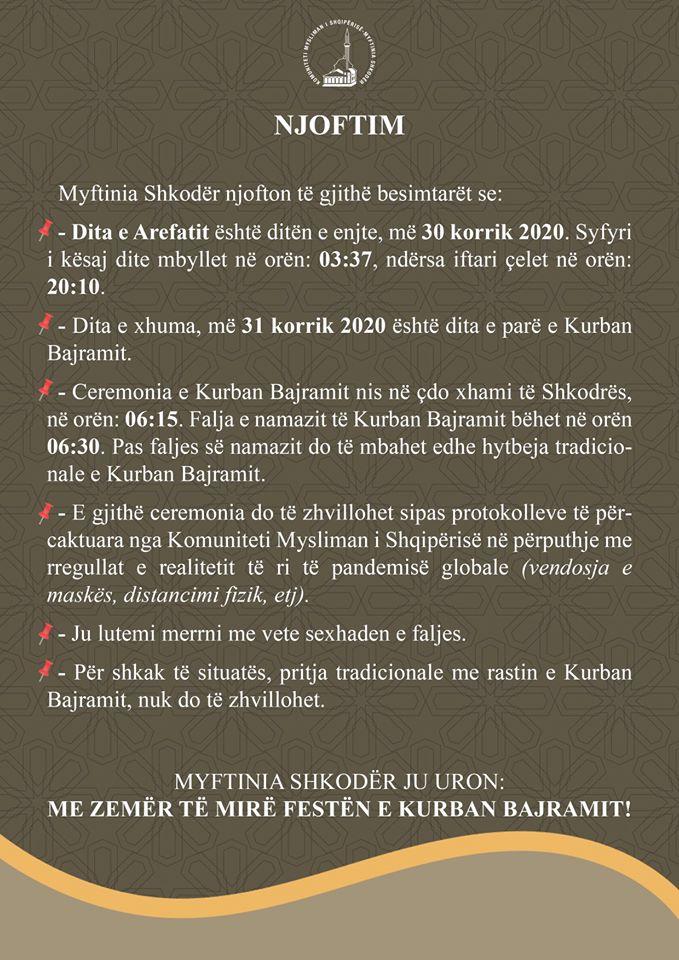 NJOFTIM – Kurban Bajrami 1441/2020